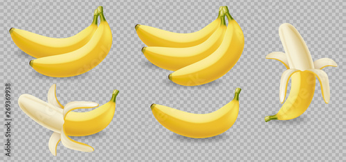 Fotografía Banana fruits isolated on transparent Vector realistic poster template