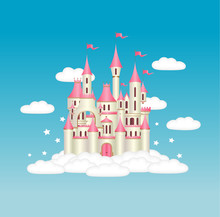 Princess Castle With Magical Stars In White Fluffy Clouds
