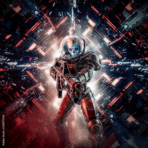 Fotografía  Intruder skeleton military astronaut / 3D illustration of science fiction scene