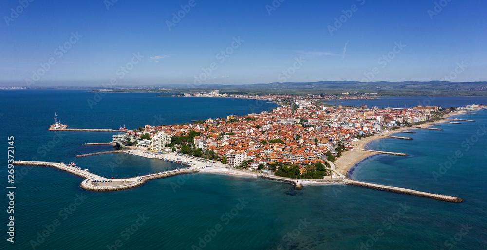 Fototapety, obrazy: Aerial view to Pomorie city on the Bulgarian Black Sea coast
