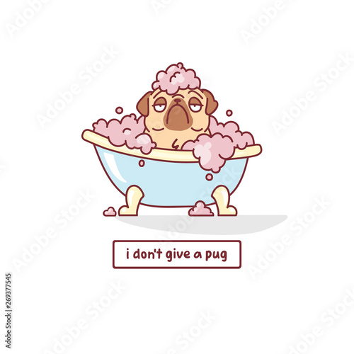 Photo cartoon pug dog character sitting in a bath with foam vector illustration with h