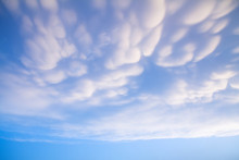 Beautiful Clouds With Blue Sky Background. Nature Weather, Mammatus Cloud Sky