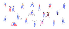 Crowd. Different People Walking Outdoor. Male And Female Flat Vector Characters Isolated On White Background.