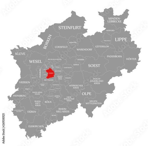 Fotografie, Obraz  Essen red highlighted in map of North Rhine Westphalia DE