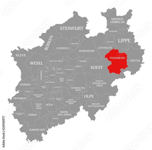 Fotografie, Obraz  Paderborn red highlighted in map of North Rhine Westphalia DE