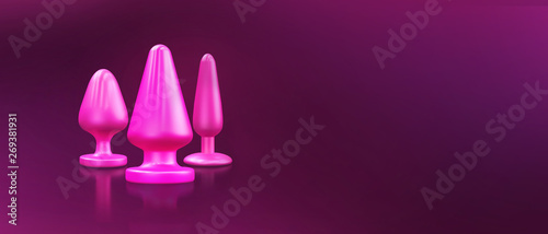Different bdsm toys - dildo, prostate massager, vibrator, anal plug and others on a pink background Fototapete