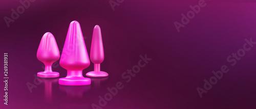 Fotografia Different bdsm toys - dildo, prostate massager, vibrator, anal plug and others on a pink background