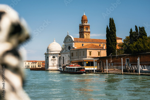 Pinturas sobre lienzo  Vaporetto water bus station against San Michele in Isola church with tower in La