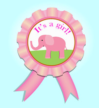 Greeting Satin Medal For Baby Girl. Baby Shower Vector Illustration