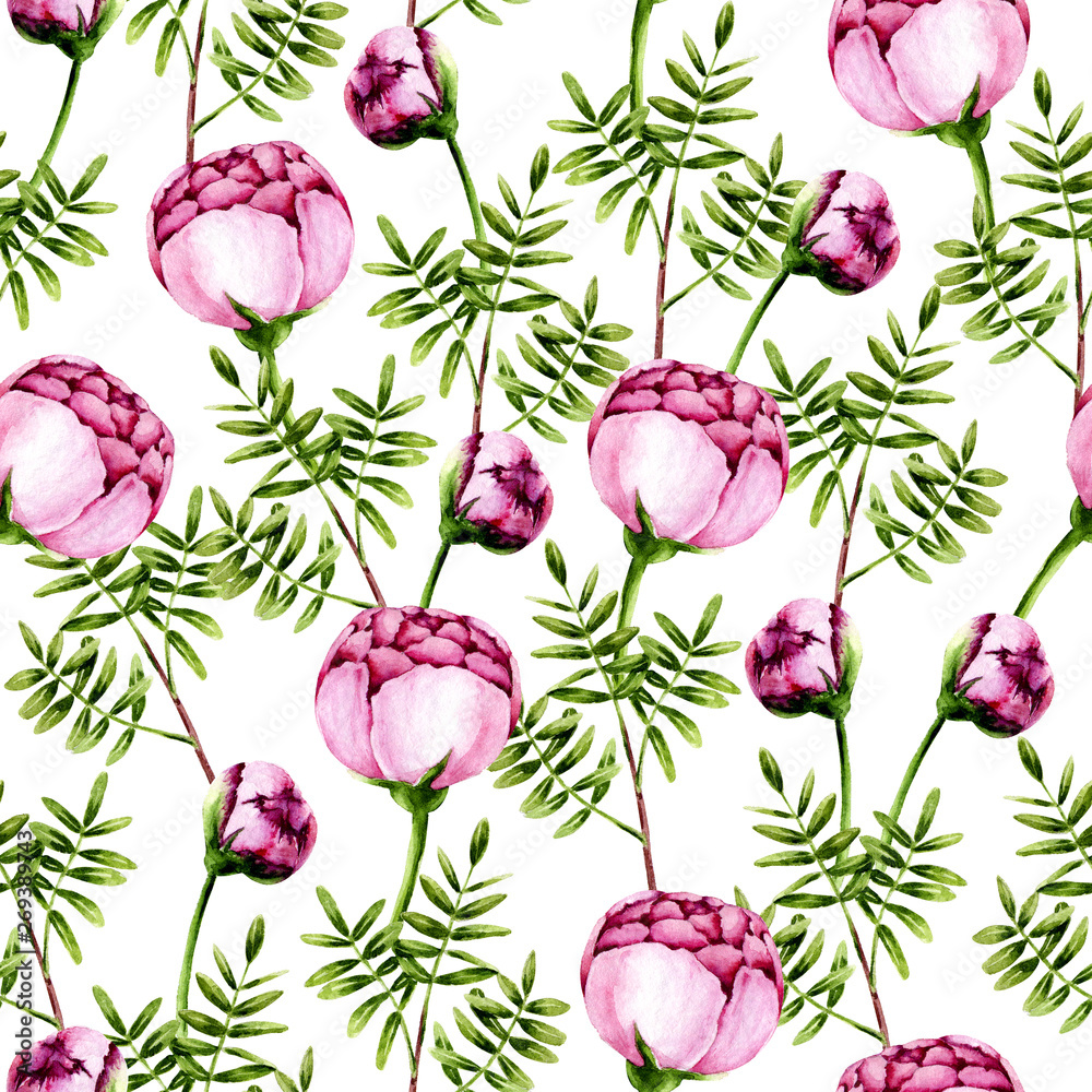 Seamless pattern of watercolor pink peonies and green sprigs. Isolated hand painted flowers and leaves on white perfect for card making, vintage design and fabric textile. Illustration