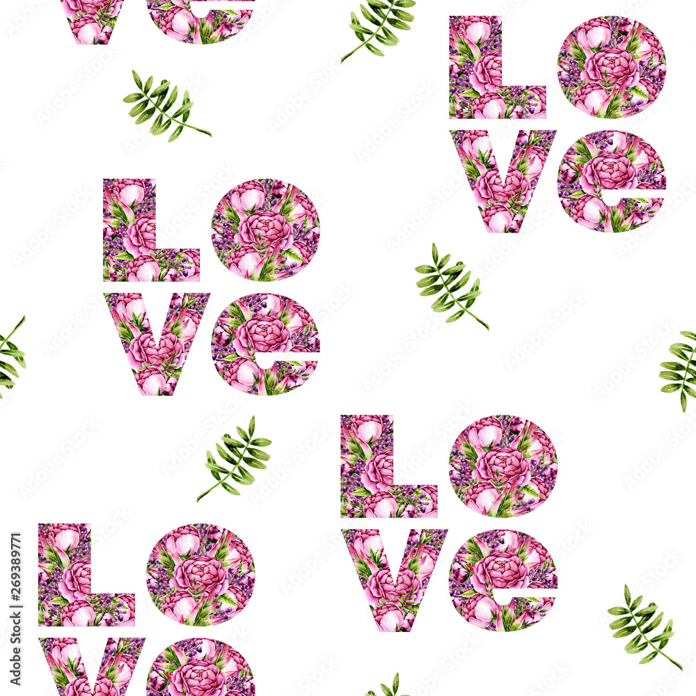 Seamless pattern of watercolor green leaves and word Love. Isolated hand painted leaves and floral letters on white perfect for card making, vintage design and fabric textile. Illustration