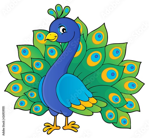Fotobehang Voor kinderen Peacock theme image 1