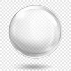 Big translucent white sphere with glares and shadow on transparent background. Transparency only in vector format