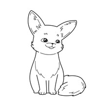 Cute Fox Cartoon Character, Vector Illustration. Coloring Book For Children.
