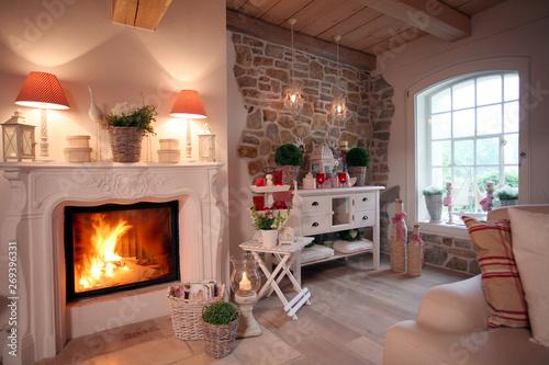 Kamin Wohnzimmer gemütlich zuhause Kaminfeuer – kaufen Sie ...