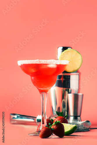 Strawberry margarita alcoholic cocktail with tequila, liqueur, berries, lime jui Canvas Print