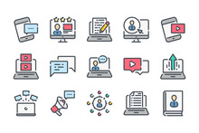 Blog And Content Related Color Line Icon Set. Online Blogging Linear Icons. Streaming And Storytelling Colorful Outline Vector Sign Collection.