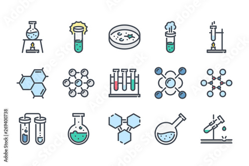 Fotografie, Obraz  Chemistry and laboratory related color line icon set