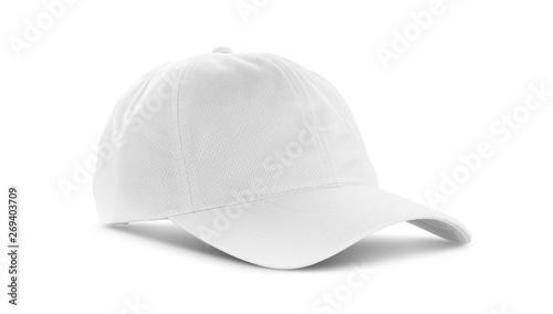 Fotografia  white canvas fabric cap isolated on white background