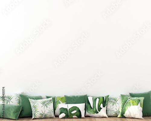Fényképezés  Interior composition of pillows with a tropical pattern on a background of a whi