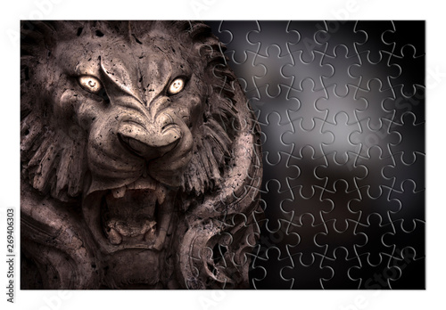 Fear and aggression management - Psychological concept image in jigsaw Canvas Print