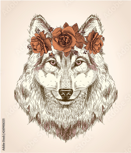 Fotografija Vector sketch portrait of she-wolf with flower headband on her head