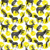 ręcznie rysowane zwierzęta zimowe bezszwowe tło - 269406706
