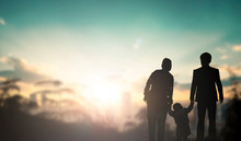 Family Concept: Family At Sunset Background