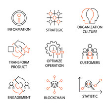 Modern Line Icon Set In Concept Of Digital Transformation With Word Information,Strategic,Organization Culture,Transform Product,Optimize Operation,Customers,Engagement,Blockchain. Editable Stroke