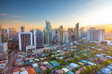 Elevated, Sunset View Of Makati, The Business District Of Metro Manila,  Philippines