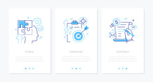 Business And Technology - Set Of Line Design Style Vertical Web Banners