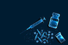 Pills, Syringe. Abstract Polyg...