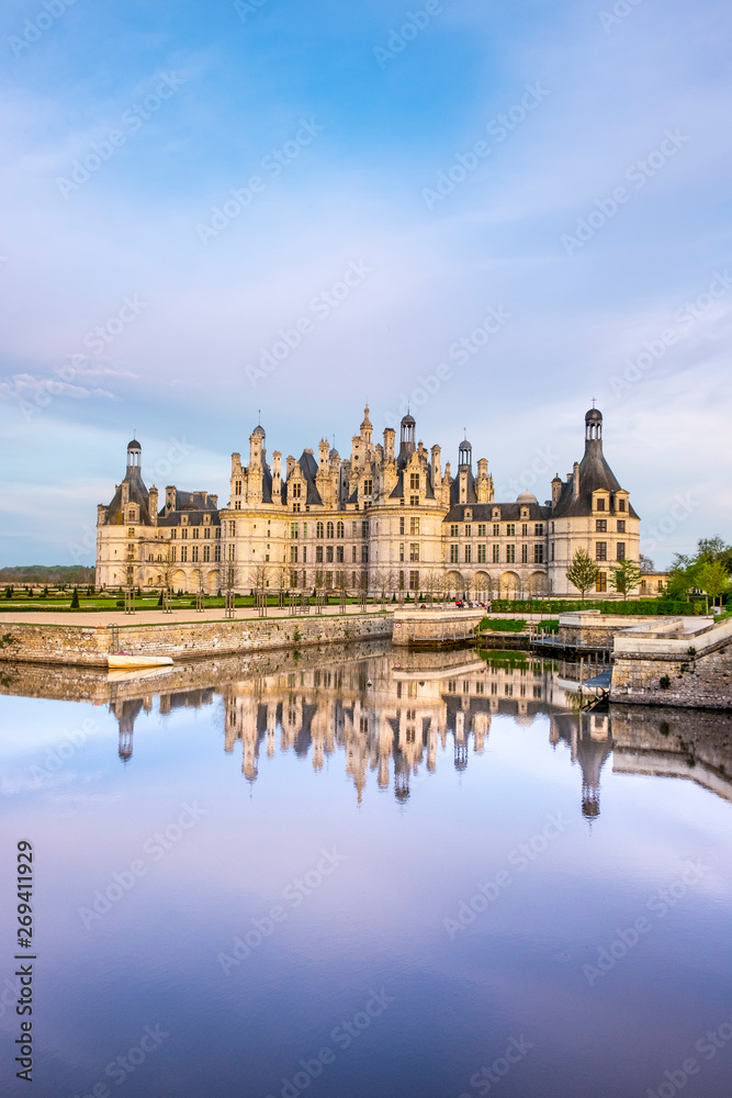 Fototapeta Chambord Castle, royal medieval french castle in Loire Valley, France. Unesco heritage site.