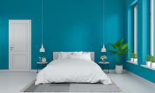 Blue Bedroom Interior For Mockup, 3D Rendering