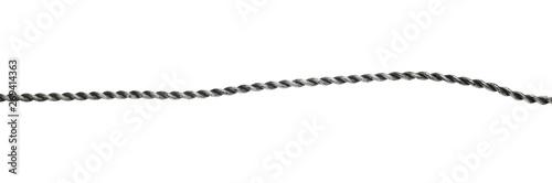 Fototapeta Steel, metal hawser, cord isolated on white background