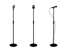 Three Microphones On Counter. White Background. Silhouette Microphone. Music Icon, Mic. Flat Design, Vector Illustration
