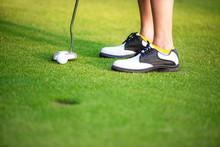 Close Up Golfer Legs Approach ...