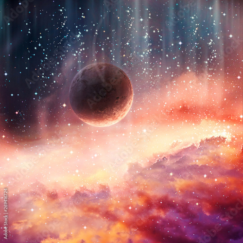 Artistic Abstract Planet Falling Into A Smooth Colorful Galaxy Artwork Background Buy This Stock Illustration And Explore Similar Illustrations At Adobe Stock Adobe Stock