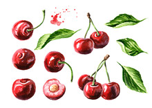 Fresh Ripe Cherry With Leaves ...
