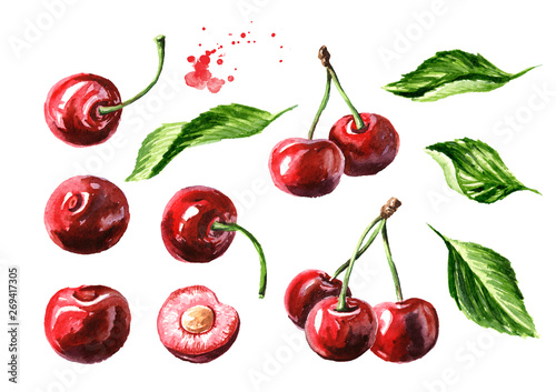 Fresh ripe cherry with leaves elements set Tableau sur Toile