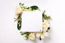 Summer Composition Of White Flowers On Light Paper Background With Copy Space. Creative Layout. Flat Lay. Top View. Spring Minimal Concept.