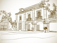 Nice Veiw Of Romantice Lisbon. Hand Drawn Line Sketch.