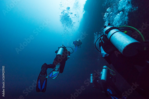Scuba divers underwater, The Great Blue Hole, Belize Barrier Reef, Lighthouse Re Canvas Print