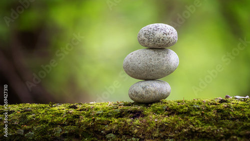 stone, zen, stones, green, rock, stack, nature, art, beauty, background, white, Canvas Print