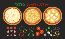 Pizza Constructor Set Dough Base With Sauce  Ingredients And Topping On Black Background