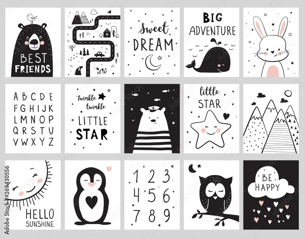 Fototapeta Nursery posters for baby room, cute animals, alphabet and quotes. Hand drawn vector illustration for prints, cards, t-shirts.