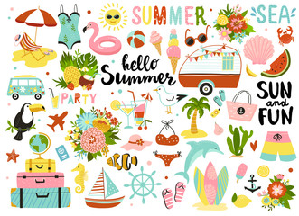 Set of cute summer elements: sun, palm tree, beach umbrella, calligraphy, tropical flowers and birds. Perfect for summertime poster, card, scrapbooking , tag, invitation, sticker kit.
