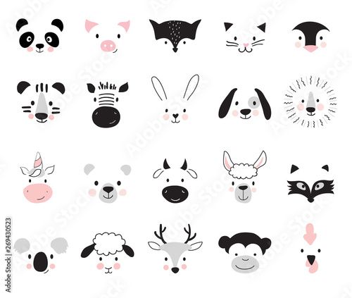 Cute animals for kids and baby t-shirts and wear, nursery posters for baby room, greeting cards. Scandinavian style, vector illustration