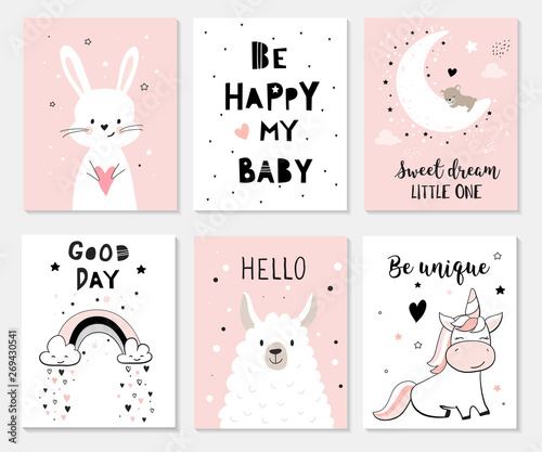 Fotografering Cute posters with little bunny, lama, unicorn, vector prints for baby room, baby shower, greeting card, kids and baby t-shirts and wear
