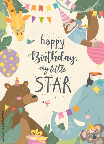 Vector frame with cute animals celebrating Birthday